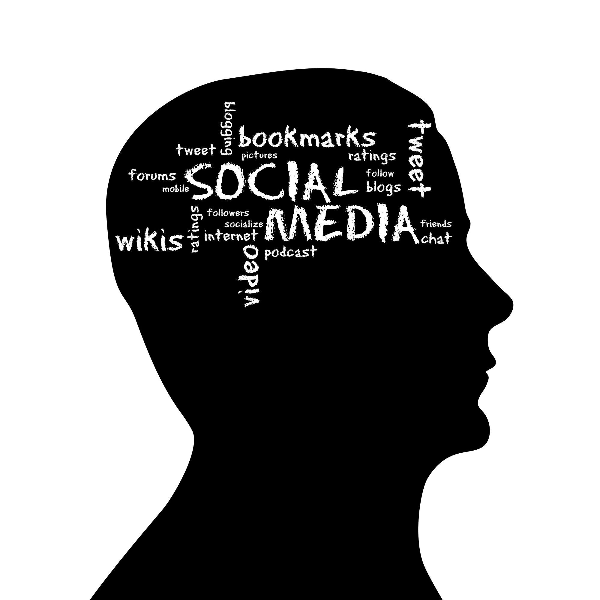 Silhouette Head With Social Media Cloud On White Background