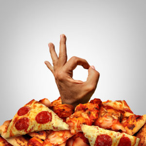 Delicious Pizza Concept With A Happy Hand Expressing Joy And Approval Coming Out Of A Heap Of Baked Dough With Melted Cheese And Pepperoni With Garlic