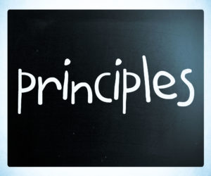 Principles Handwritten With White Chalk On A Blackboard