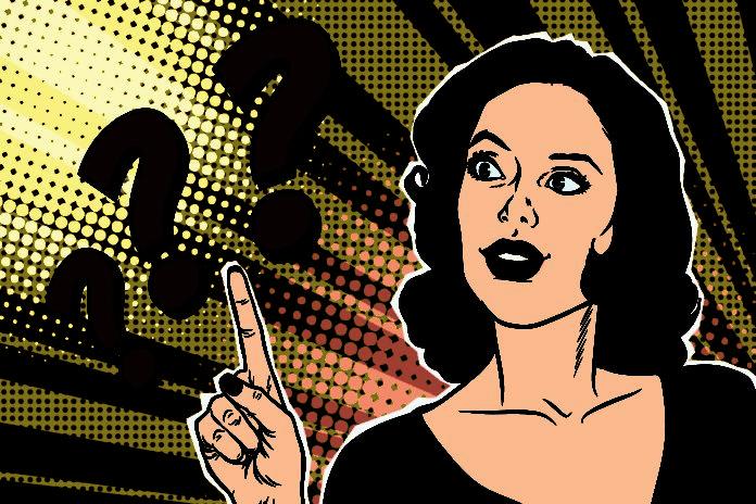 Question Mark Pop Art Woman Retro Vector Illustration Question Mark Pop Art Woman
